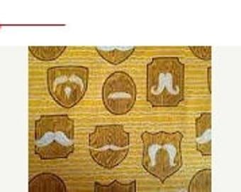 Mustache Plaques - 1.5 yards - Flannel - Precut