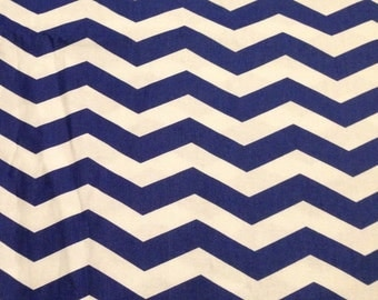 Chevron Cotton Fabric - Medium Cornflower Blue and white  19 inches