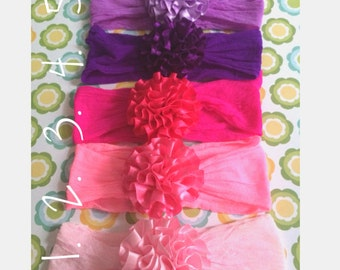 baby headband streachy nylon or cotton HB with satin flower (4)