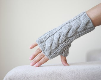 Women fingerless gloves, Grey fingerless gloves, Knit mittens for women, mitten for two, Cozy knitting pattern