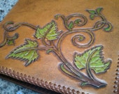 FULL SIZE Leather journal cover 10x8, hand tooled, with hand stitched leather lacing, and comes with 2  free refills