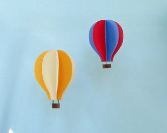 Set of Two Hanging 3D Hot Air Balloons (6 in x 9 in and 5 in x 8 in) You Choose Colors--Hanging nursery/playroom/party decor