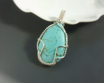 Turquoise howlite pendant, sea wave pendant, silver plated handmade jewelry