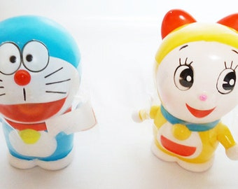 The Authentic Doraemon and Dorami-chan Rubber Figures.80s.
