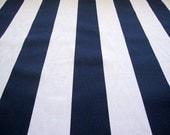 decorator fabric, navy blue and white vertical stripe fabric 1 yard