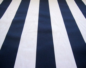 decorator fabric, navy blue and white vertical stripe fabric...1 yard