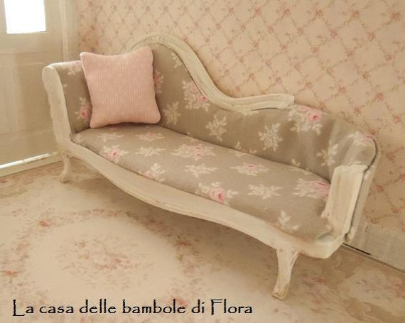 shabby chic chaise long day bed 1 12 dolls house dollhouse. Black Bedroom Furniture Sets. Home Design Ideas