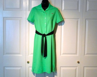 Izod Lacoste Dress Vintage 1970s Lime Green Logo Polo Tennis Dress Bright Spring Green Knit Dress David Crystal Haymaker Crocodile Preppy