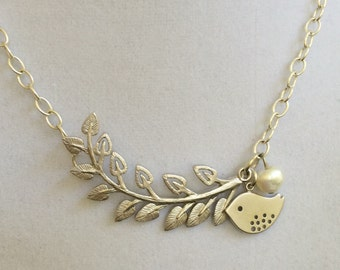Silver Branch and Bird Necklace