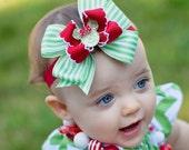 Merry Christmas Minnie baby Headband, Christmas bow, Infant Headband, Boutique Baby Bow, Christmas Bow, Minnie Mouse bow, Minnie necklace