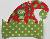 Iron or Sew On Owl Elf Hat Applique Polka Dots Christmas
