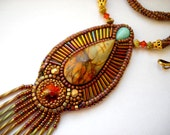 Bead Embroidery Necklace Gold - orange  Bead Embroidered picasso jasper - Made to Order