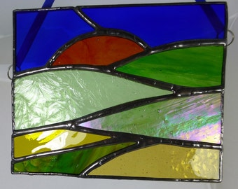Sunset and Fields, stained glass light catcher MTO