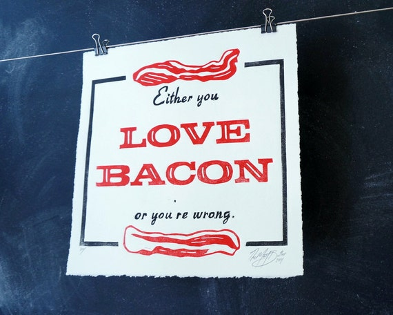 Love BACON Wall Art Print House Warming Gift Home Decor Kitchen Poster Handmade Letterpess Printed Style Linocut Print Quote FREE SHIPPING