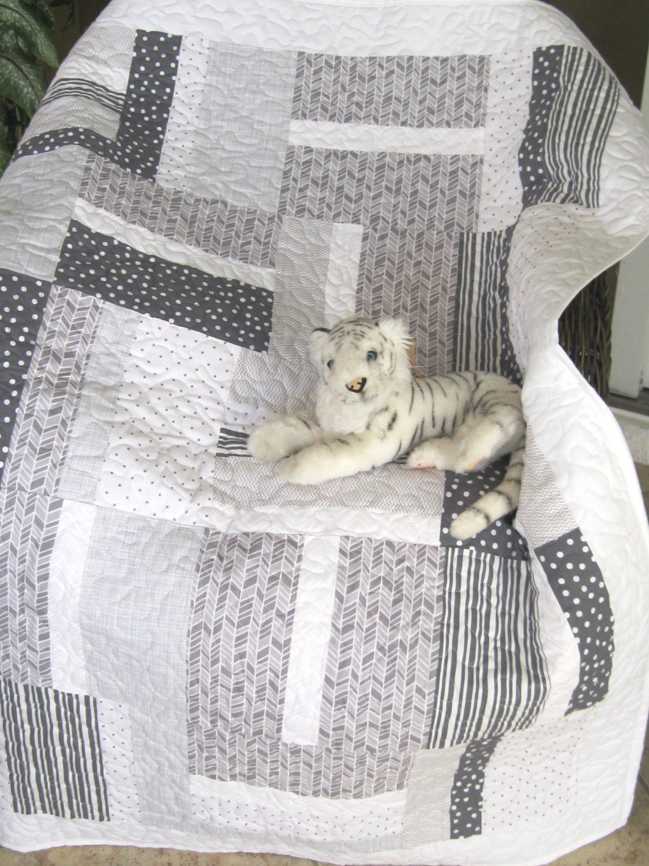 Baby Crib Quilt Grey Silver White Modern Contemporary
