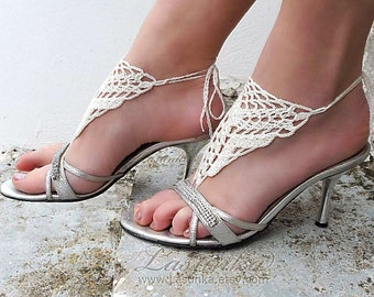 Crochet  Barefoot Sandals, Cream Barefoot sandles, Nude shoes, Foot jewelry, Bridal, Victorian Lace, Sexy, Yoga, Anklet, Beach, Pool