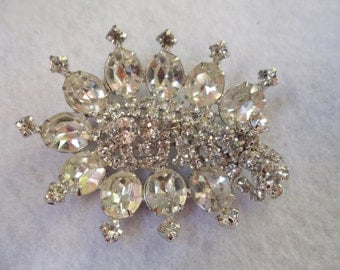 Large Vintage 1950's Rhinestone Brooch Kramer of New York