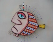 Gangster poisson IV, Original objet trouvé Wall Art, Wood Carving, par Studio de confiture de figue