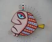 Gangster poisson IV, Original objet trouvé Wall Art, Wood Carving, par Studio de confiture de figue