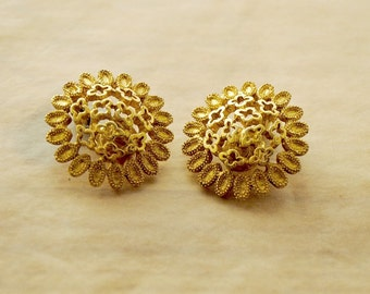 70s Vintage Gold Filigree Earrings