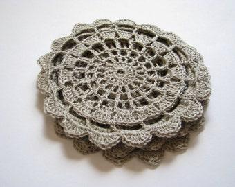 Crochet doily Small doily Linen lace doily Small crochet doilies Crocheted lace