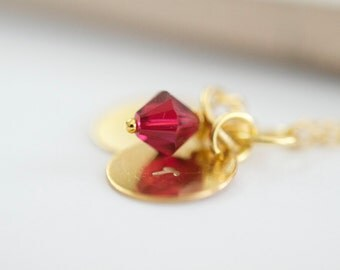 July birthstone necklace, ruby pendant, ruby swarovski crystal necklace, brass charm