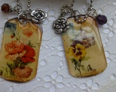 Vintage Flower Dog Tag Pendant Necklace with Charms on Ball Chain