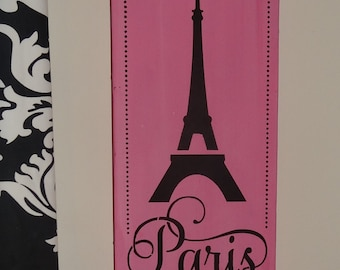 Pink and Black Paris Eiffel Tower Girls Bedroom Sign Decoration