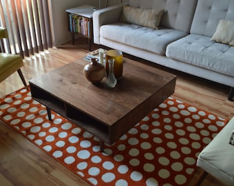 Square Walnut Coffee Table - Mid Century Modern Style