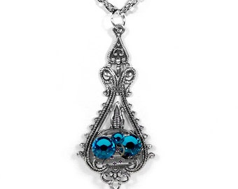Steampunk Jewelry Necklace Vintage Watch Victorian Silver Filigree Turquoise Women's Steam Punk Mothers Mom - Jewelry by Steampunk Boutique