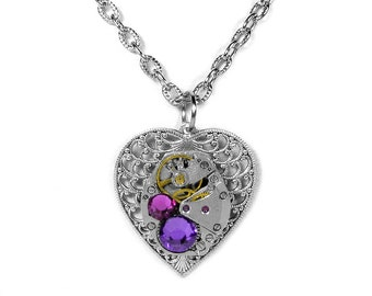 Steampunk Jewelry Necklace Vintage Watch Silver Filigree HEART Pink Heliotrope Crystals Wedding Mothers Mom - Jewelry by Steampunk Boutique