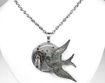 Steampunk Jewelry Necklace PINSTRIPE Pocket Watch VERDIGRIS Bird Men Women Steam Punk Pendant Anniversary - Jewelry by Steampunk Boutique