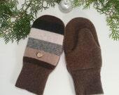 Warm wool mittens for kids. Beige, brown stripes. Brown palms. Fleece lined.