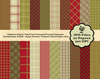 Christmas Plaid Digital Paper Pack - Sage Green & Tomato Red - The Plaid Series 20 Papers Background Photography Scrapbook Instant Download