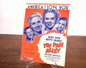 """America, I Love You, sheet music, patriotic song from """"Tin Pan Alley"""" movie, vintage 1940s, 4th of July decoration, red white blue, piano"""