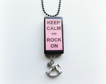 Keep Calm and Rock On Domino Necklace