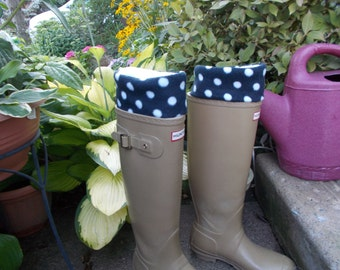 Fleece Rain Boot Liners, Black and White Polka Dot Cuff w/White Sock, Autumn, Rainy Days, Gardening, Gift under 25,  Sm/Med 6-8 Boot