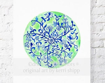 Green Chinoiserie Plate 11x14 Prints
