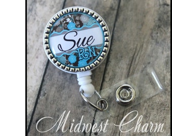 aqua/blue floral.. Personalized retractable badge reel ..nurse..teacher..lpn..rn..md..id holder..lanyard..bottlecap jewelry
