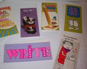 Lot of 6 Vintage Long Contemporary Greeting Cards Silly