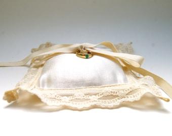 Eco Friendly Wedding - Ring Bearer Pillow - Hemp Silk Charmeuse - Organic Cotton Lace