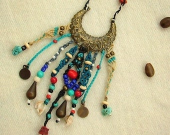 Boho beaded necklace hippie blue and red  beaded macrame necklace - tagt team