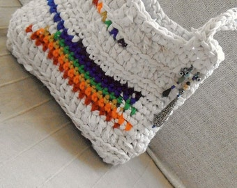 Rainbow magic rag crochet bag - gorgeous upcycled fabric colorful shoulder bag