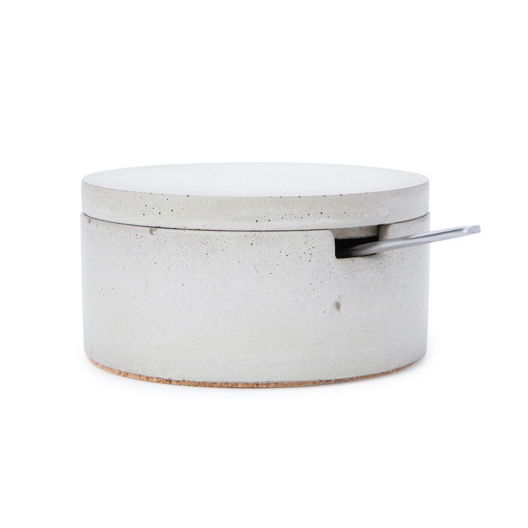 Concrete Salt Cellar With Spoon Salt Keeper Sugar Container