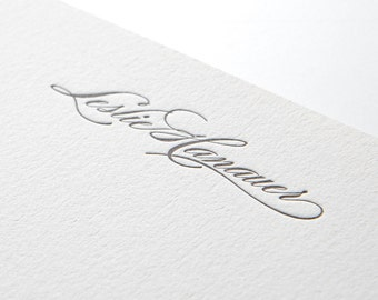 Elegant Script, personalized letterpress stationery, set of 25