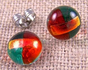"Tiny Dichroic Stud Earrings - 1/4"" 7mm - Copper Orange & Emerald Green Striped Layered - Rock Drop Post Studs"
