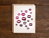 Foil valentine card - I love you - hot pink - lips - kisses - xoxo