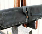 Leather Knife Roll - Tumbled Black Cowhide