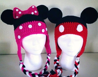 Minnie Mouse or Mickey Mouse earflap beanie hat - ALL SIZES