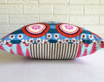 Floral Boho Pillow Cover in Teal and Pink - Girls Dorm Decor Boho - Medallion Throw Pillow Cover